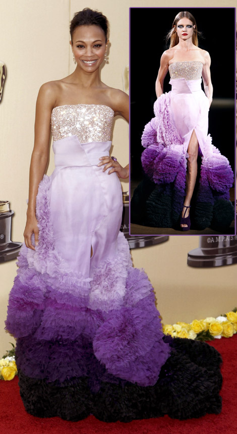 Zoe Saldana Givenchy dress 2010 Oscars