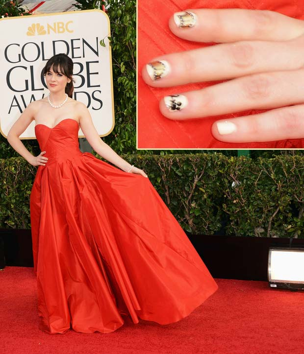 Zooey Deschanel cute nails red dress 2013 Golden Globes