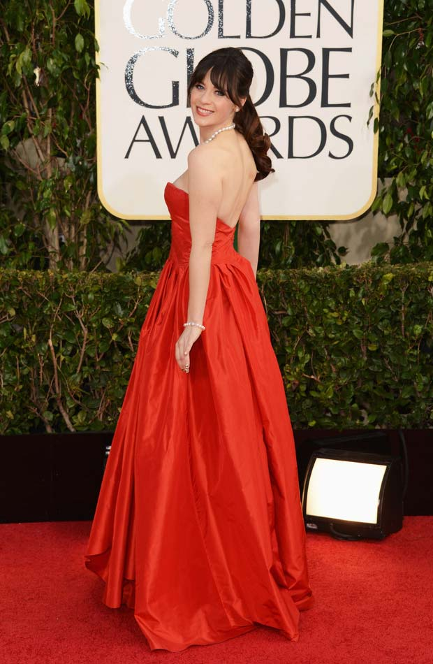 Zooey Deschanel De La Renta red dress 2013 Golden Globes