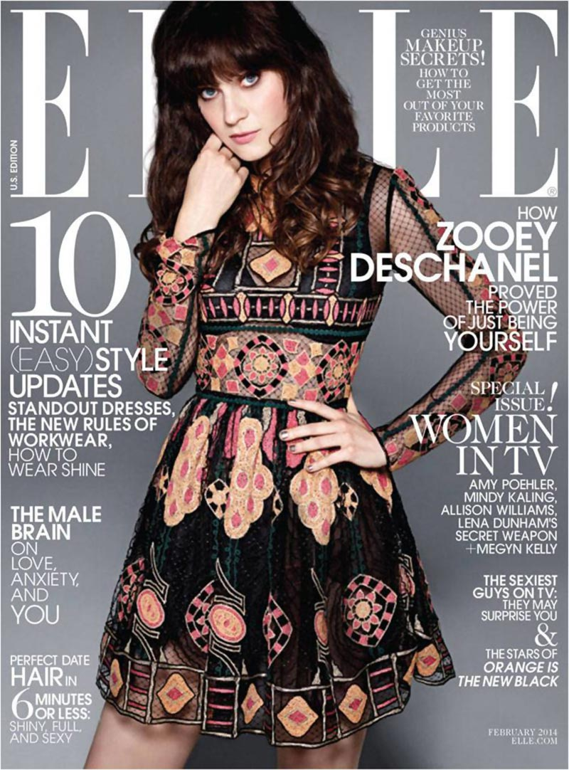 Zooey Deschanel lovely retro dress Elle magazine cover