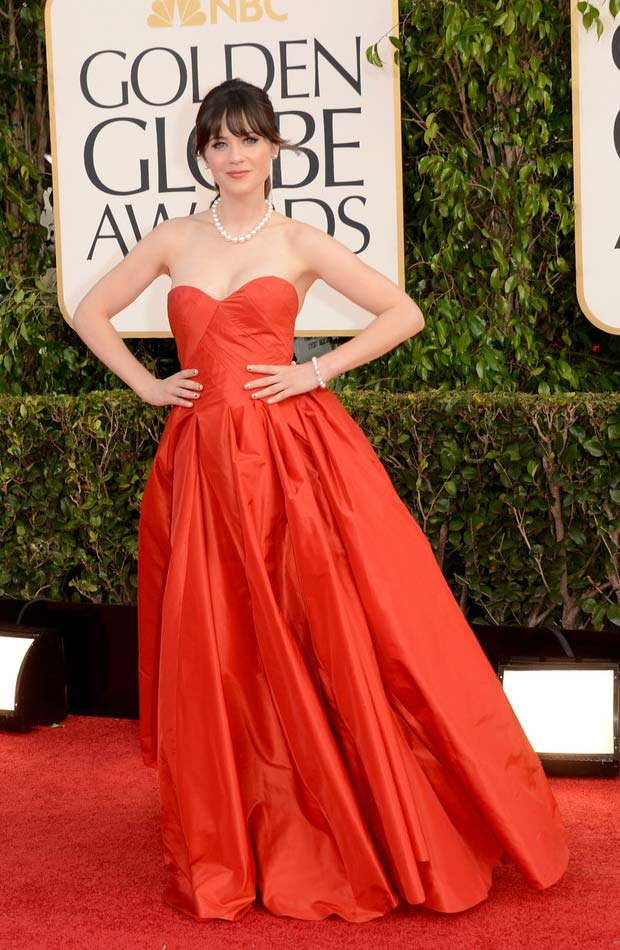 Zooey Deschanel red dress 2013 Golden Globes